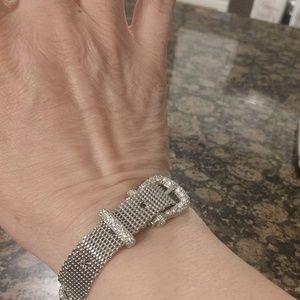 silvertone rhinestone buckle bracelet